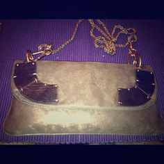 Stella McCartney brand new clutch w/ sleeper bag! Brown suede with wood pieces and gold rope chain Stella McCartney Bags