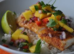 Blackened Cod with Mango Salsa | mountainmamacooks.com #glutenfree