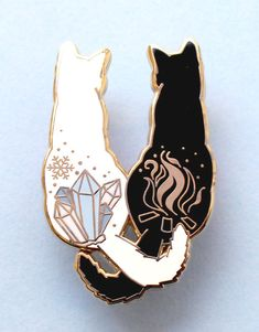 A Fire & Ice Cats Enamel Pin, made from gold hard enamel. Measuring this pin features a black and a white cat with ice and fire symbols on their backs, and is secured with two pink rubber clasps. Jacket Pins, Hard Enamel Pin, Pin Enamel, Cat Colors, Cool Pins, Metal Pins, Pin And Patches, Fire And Ice, Pin Badges