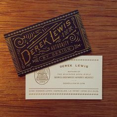 Business card design ideas and inspiration. New business cards for ghostwriter extraordinaire @dereklewisink - impeccably printed by @studioonfire. Love the gold foil and traditional look of these cards. This aesthetic reminds me of an old wild west saloon. Steeped in tradition!