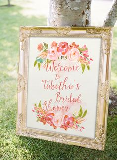 Spring bridal shower sign idea - watercolor floral motif welcome sign {Courtesy of Etsy}