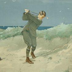 Illustration de golf ancienne - sortie de bunker