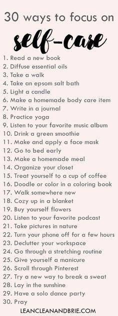 30 ways to focus on self-care Simple ways to take care of yourself via Lean, Clean, & Brie by red_birdie Stress Management, Change Management, Project Management, Affirmations, Self Care Routine, Healthy Mind, Better Life, Self Improvement, Self Help