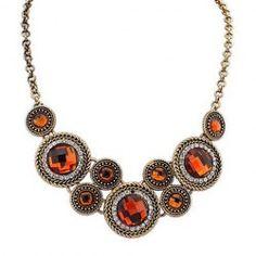 Retro Rhinestone Decorated Round Pendant Necklace For Women