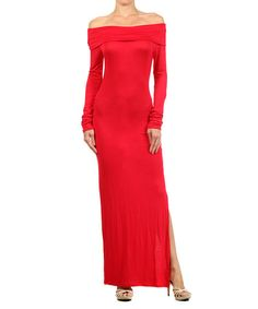 Another great find on #zulily! Red Side-Slit Off-Shoulder Maxi Dress #zulilyfinds