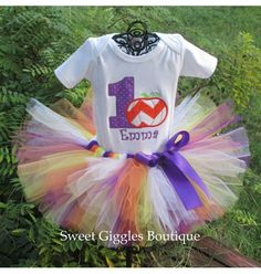 Purple and Orange Halloween Pumpkin Baby Girl First Birthday Tutu Outfit