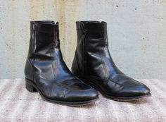 Vintage VTG VG Men's Florsheim Genuine Leather Black Beatle Boots Zip Up Ankle Boots Men's Size 9 1/2 10 USA 1960's 60's 1970's 70's by foxandfawns on Etsy