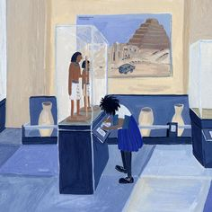 women looking at art, each interpreting what they see