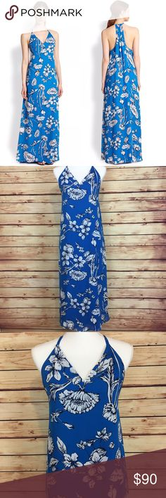 "Alice + Olivia Floral Maxi Dress Ladybug Garden Alice + Olivia ""ladybug garden"" maxi dress with a racerback. Blue with a white floral and ladybug print. V neck and a slight high low hem. Size XS. Excellent preowned condition, no flaws. Perfect dress for spring or Easter. Color best represented in stock photo. Alice + Olivia Dresses Maxi"