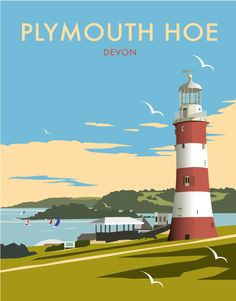 Plymouth Hoe, Devon, the Seven Sisters, UK by Dave Thompson Posters Uk, Railway Posters, Art Deco Posters, Plymouth Hoe, Plymouth England, British Travel, British Seaside, Tourism Poster, Poster Series