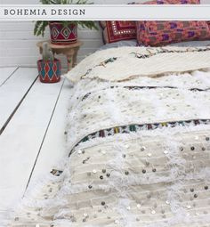 Bohemia Moroccan Handira Wedding Blanket as featured on 'Home Shopping Spy' Trend Alert: 'Travel the World with Modern Bohemia'