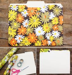 Custom made DIY file folders! Use adhesive, wall paper or scrapbook paper. Couldn't be easier!
