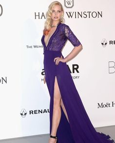 Tatiana Dziahileva was ravishing in GEORGES HOBEIKA for the amfAR Gala at the 69th Cannes Film Festival. Dziahileva wore a purple, lace and chiffon gown featuring an embroidered, deep-V neck top from GEORGES HOBEIKA's Fall-Winter 2016-17 Ready-to-Wear collection. #cannesfilmfestival #cannes2016
