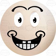 Happy Light Colored Smiley Face Emoticon With Wide Grin, Teeth, Dimples, Looking Straight Ahead #computer #emotion #expression #eyebrows #eyes #face #feeling #icon #mood #mouth #PDF #smiley #teeth #vector-graphics #vectors #vectortoons #vectortoons.com