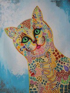 The Greedy Cat ! Modern Contemporary Art ! Cat Lovers
