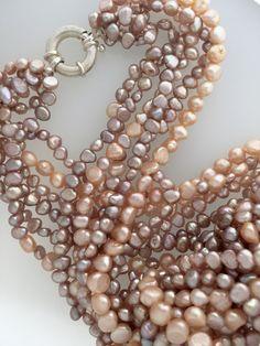 Mauve and peach Pearls