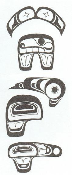 Symmetrical & asymmetrical tail fluke designs used in West Coast Native Art.