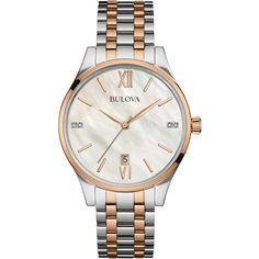 Bulova Women's Two-Tone Bracelet Watch ($145) ❤ liked on Polyvore featuring jewelry, watches, multi, bulova wristwatches, white bracelet watch, white wrist watch, stainless steel bracelet watch and stainless steel jewelry