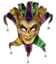 Mischievous Jester Mardi Gras Mask Image