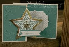 Stampin' Up! ... handmade Christmas card ... white and silver with Blue Lagoon ... Z-Fold card format ... Bright and Beautiful star overlap on the top layer ... great card!