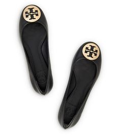 REVA BALLET FLAT - BLACK/GOLD - TORY BURCH