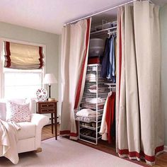 If adding an armoire to your bedroom isn't enough for your clothing collection, repurpose a corner in your bedroom by hanging a shower-curtain rod and luxurious drapes from floor to ceiling. It's the perfect place to hide a wealth of wire storage baskets and rods. Simply close the draperies and no one knows you've just created a closet./