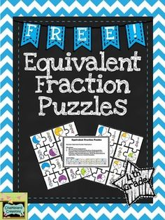 This FREE math center activity focuses on students identifying equivalent fractions in standard form and with pictures. It includes 8 full color puzzles (that also look great in black and white), and a half page card with student instructions with the answer key.