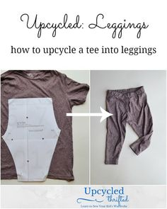 Sewing For Kids Clothes These baby leggings are so cute and easy! Just make them from a tee shirt you don't wear anymore! I love tee shirt refashions! Upcycled Tutorial: How to Sew Baby Leggings Sewing Blogs, Easy Sewing Projects, Sewing Projects For Beginners, Sewing Hacks, Sewing Tips, Baby Sewing Tutorials, Tutorial Sewing, Sewing Patterns Free, Free Sewing