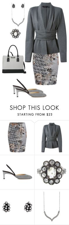 """""""Cool Grey"""" by dolenka ❤ liked on Polyvore featuring WithChic, Donna Karan, Paul Andrew, Cathy Waterman and Nine West"""