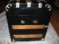 Good news and bad news......the good news is I'm pretty much done with refurbishing this old steamer trunk. The bad news....the before pict...