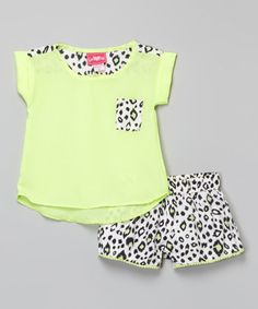 Another great find on #zulily! Lime Top & Leopard Shorts - Girls #zulilyfinds