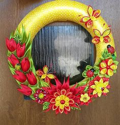Diy Wreath, Grapevine Wreath, Ribbon Art, Easter Wreaths, Summer Wreath, Light Decorations, Quilling, Polymer Clay, Centerpieces
