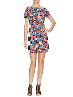 Floral Stripe Shift Dress from May Flowers: Bold Floral Prints on Gilt