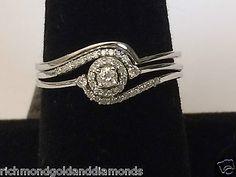 10k-White-Gold-1-5c-Round-Diamonds-Halo-Style-Engagement-Ring-Bridal-Wedding-Set
