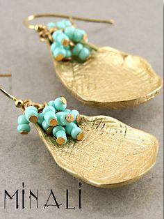 LILYPAD - GOLD & TURQUOISE EARRINGS