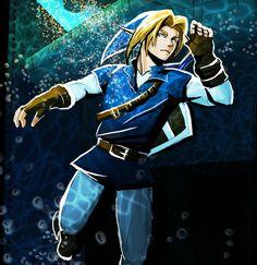 Adult Link in Water Temple - The Legend of Zelda: Ocarina of Time; fan art by: Ladyfailache on deviantART