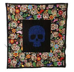 Sugar Skull Quilt Mexican Embroidery Quilt Day of the Dead