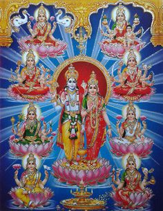 Lord Vishnu Devi Lakshmi Avatars - POSTER (Glitter Effect) 8.5 x 11 Inches Lakshmi Photos, Avatar Poster, Sita Ram, Krishna Leela, Lord Vishnu Wallpapers, Gsm Paper, Indian Gods, Gods And Goddesses, All Poster