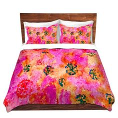 DiaNoche Designs Duvet Cover Brushed Twill Twin, Queen, King Sets by Sue Brown - Crystal Floral Cry Bedroom and Bedding Ideas Ruffle Bedding, Pink Bedding, Dorm Bedding, Comforter Sets, Orange Duvet Covers, Duvet Cover Sets, Pillow Covers, Luxury Bedding Collections, Blanket Cover