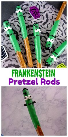 Frankenstein Pretzel Rods are a Spooky Halloween Treat! They are easy to make and are perfect for Halloween Parties and events.