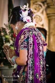 Purple and teal bridal lehenga