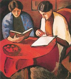 Women Reading at the Table (Elisabeth and Sofie Gerhardt), 1910, oil on canvas on paperboard, 64.5 x 58 cm, privately owned