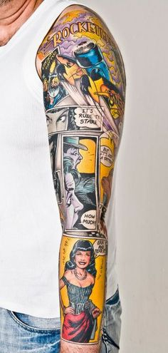 Comic book style tattoo sleeve by Lou Molloy Too cool, I'm geeking out a little bit