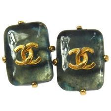 Auth CHANEL Vintage CC Logos Gold-Tone Stone Earrings Clip-On 97A France W20501