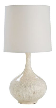 Stained Ivory Crackle Porcelain 28-Inch-H Feye Table Lamp -
