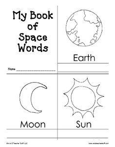 Space activities: FREE My Book of Space Words Printable Book. Space Theme Preschool, Space Activities, Science Activities, Moon Activities, Kindergarten Science, Preschool Lessons, Preschool Learning, Planets Preschool, Teaching Art