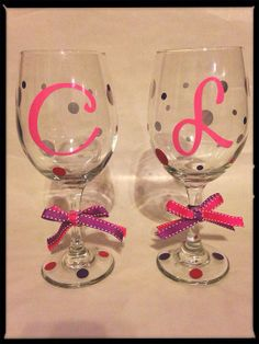 Perfect for bridesmaid gifts!!!   Personalized wine glass  on Etsy, $10.00