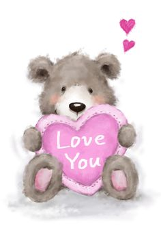 Cute bear sitting and holding big heart, Happy Valentine's Day card , Valentine Heart Images, Happy Valentines Day Images, Valentines Day Clipart, Valentine Greeting Cards, Teddy Bear Quotes, Angel Wings Wall Art, Cute Winnie The Pooh, I Love You Pictures, Cute Cat Wallpaper