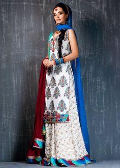 white and blue shadi dress