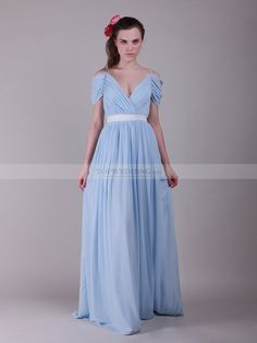 Off the Shoulder Pleated Chiffon Bridesmaid Dress with Belt 0113995